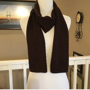 """3/$10 Lands' End Brown Cable Knit Scarf 66"""""""
